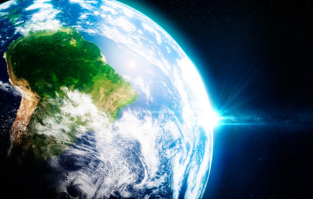 Fresh green rainorests in south america viewed from the space. 3D illustration.