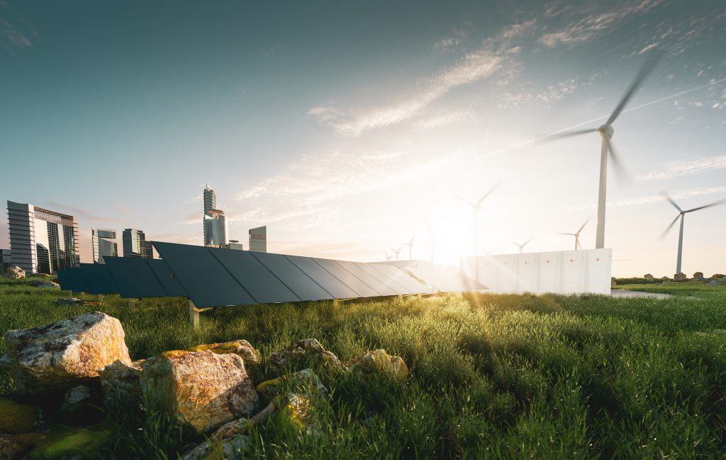 Concept of sustainable energy solution in beautifull sunset backlight. Frameless solar panels, battery energy storage facility, wind turbines and big city with skycrapers in background. 3d rendering.
