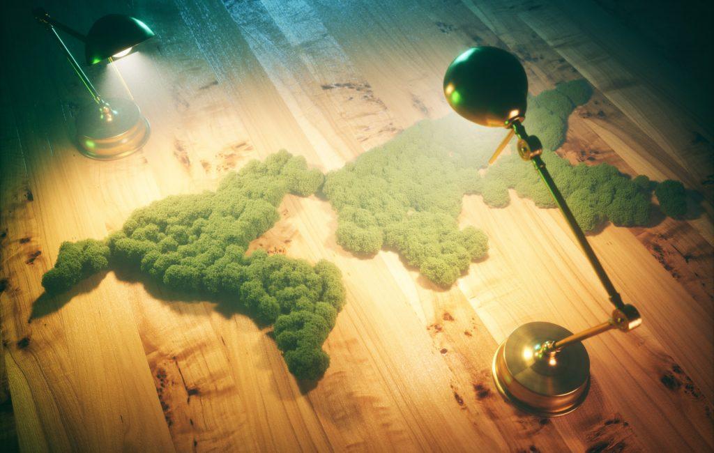 Vintage sustainable development concept. 3d illustration.
